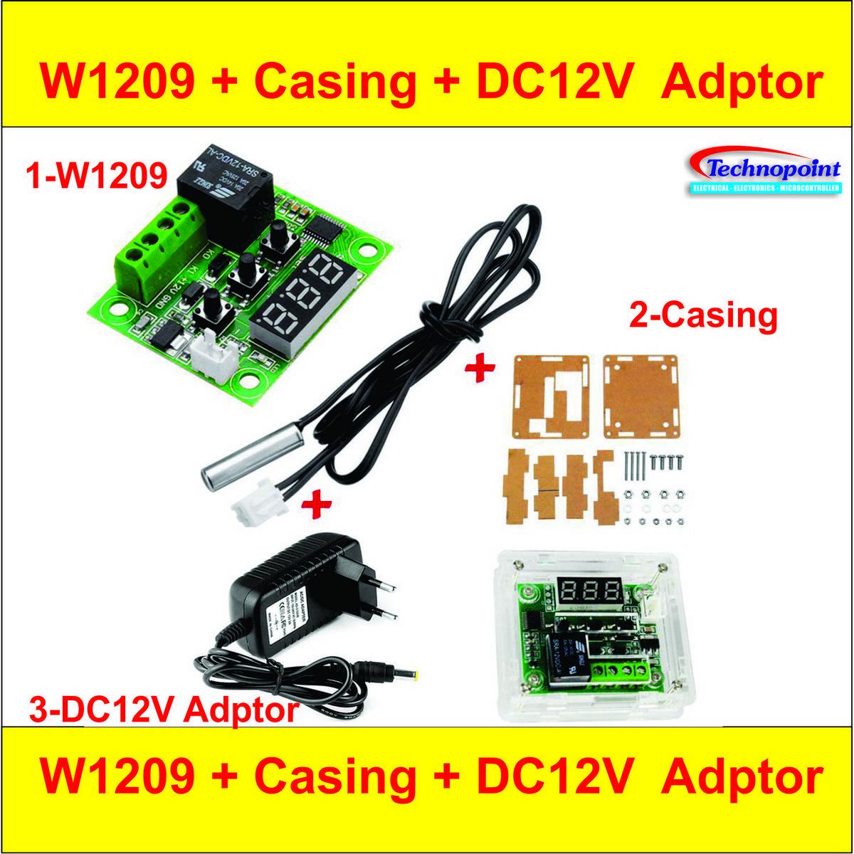 W1209 + 12V Adaptor + Casing 3 in 1  W1209 DC12V Digital Thermostat Temperature Controller Incubator Controller