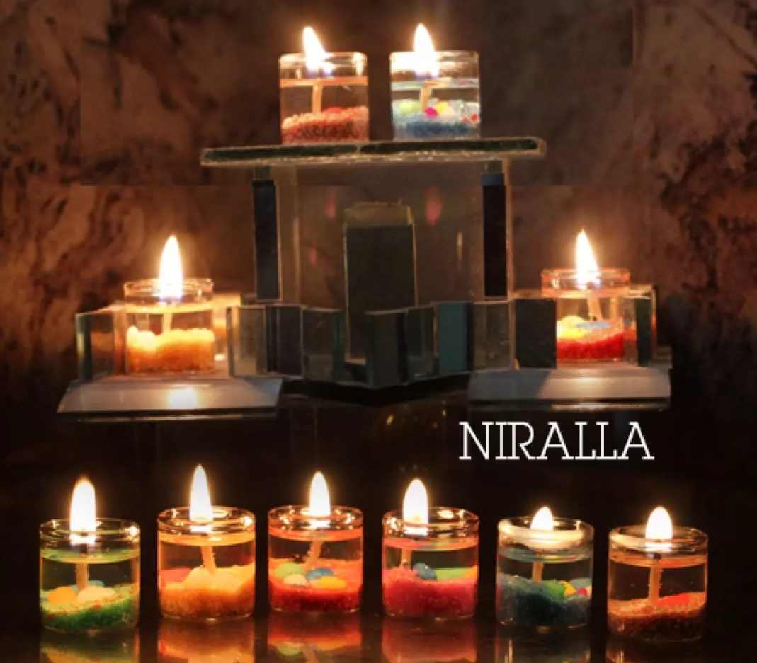 Pack of 10  Crystal Glass Block Flower Candle Holders Feng Shui Home Decor Big Tealight Candle Stand Holder Candlesticks