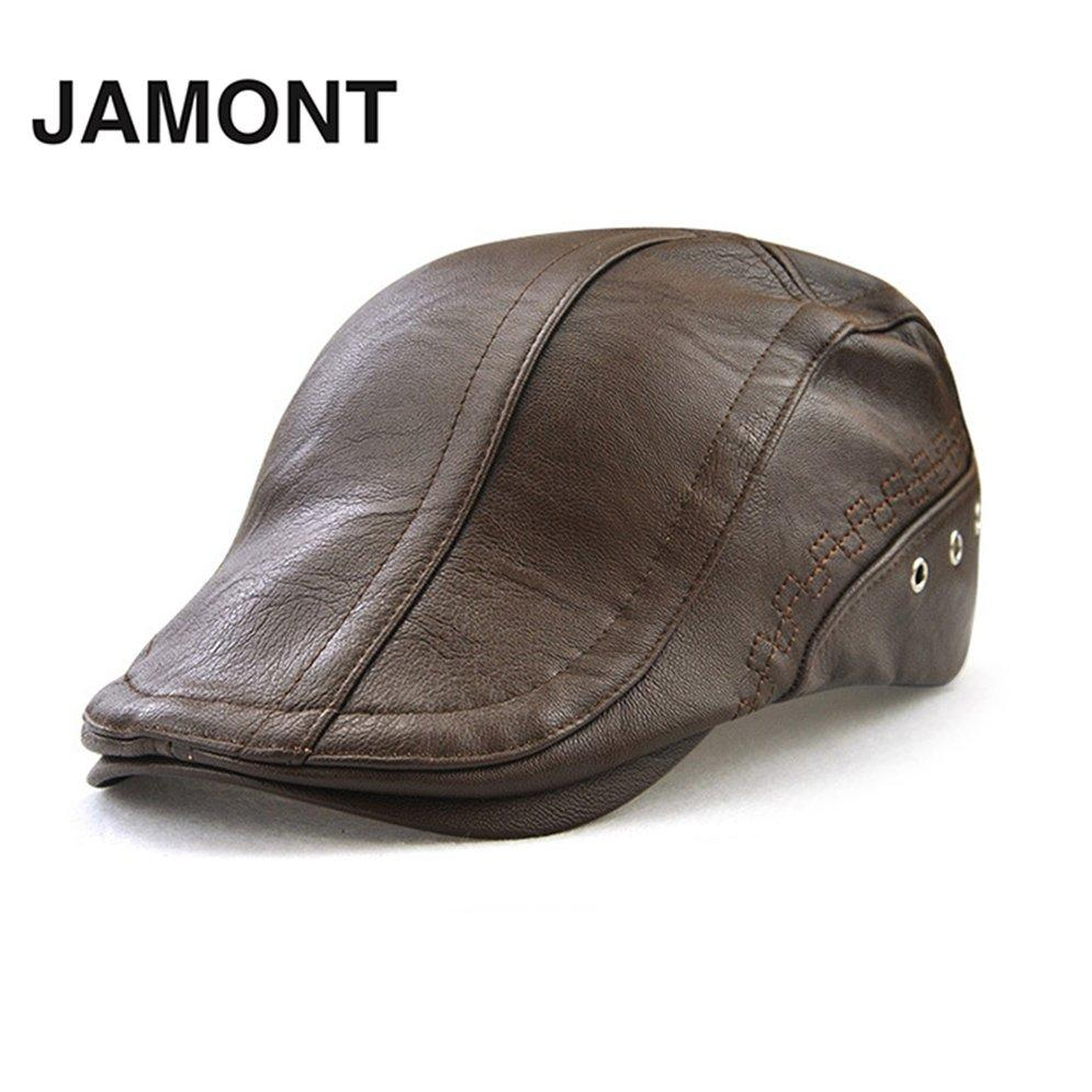 fe7e06b175 LALA JAMONT 12982 Autumn Male Baseball Cap Men Beret Casual Peaked Cap Grid  PU Hat