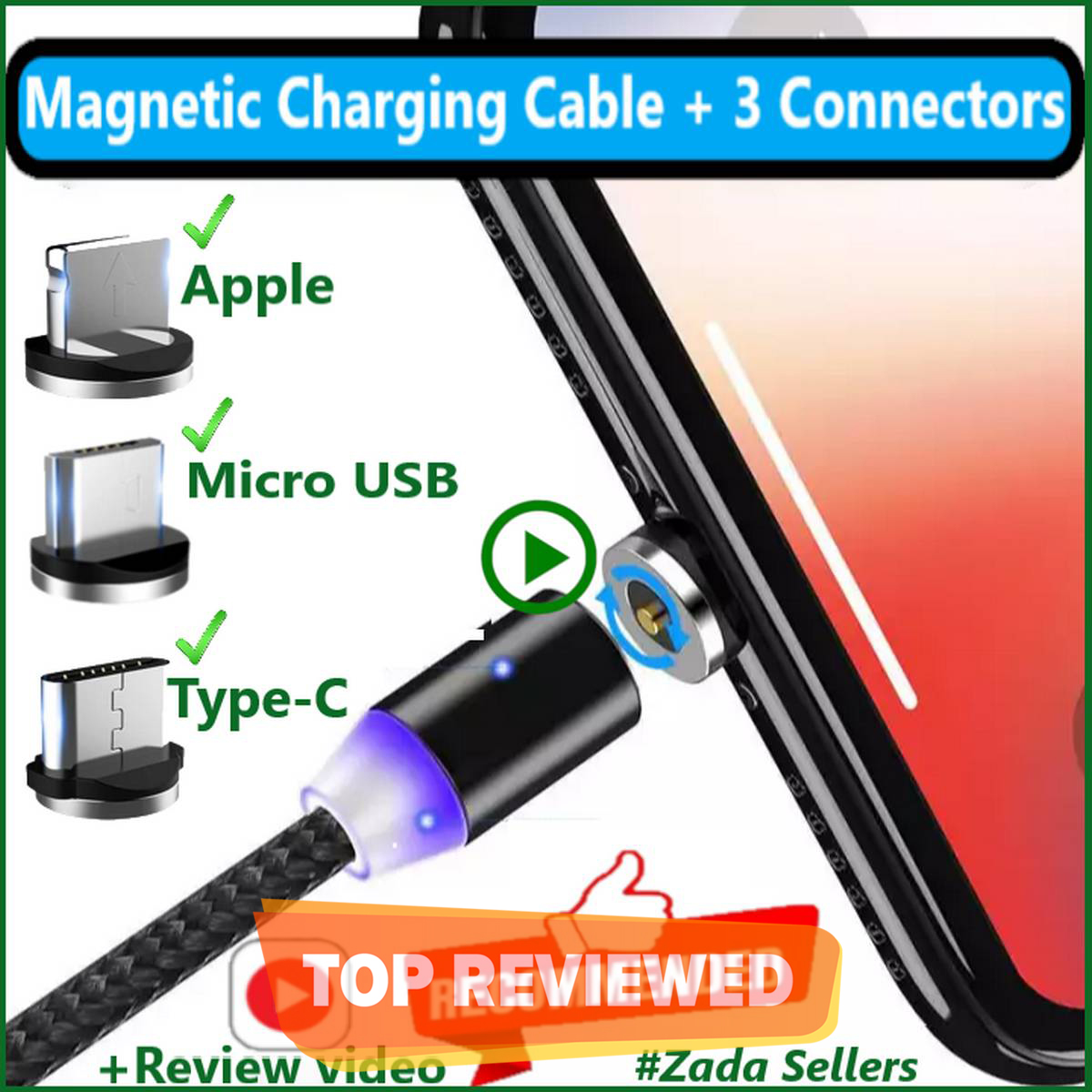 Magnetic Charging Cable 3 in 1 - Compatible with iPhone - Micro USB Android - Type C Connectors / Pins- With LED Charging Wire For Apple, Samsung, OnePlus, Huawei, Xiaomi, Samsung Note, Android Devices - Leed - Fast Grip  - Good Quality Charging Wire