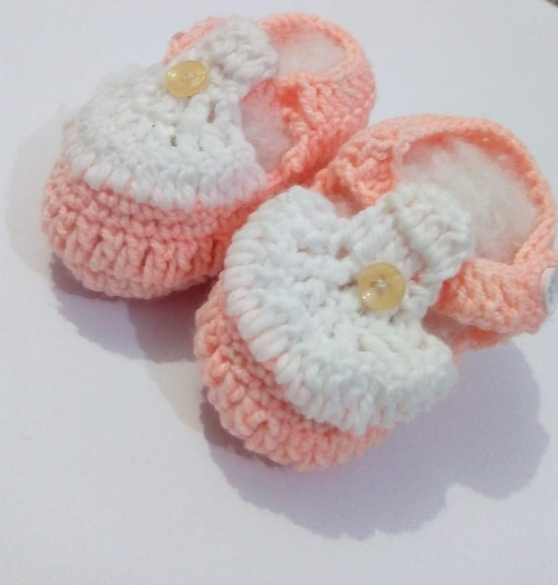 Hand Knitted Wool Booties For Baby Girl