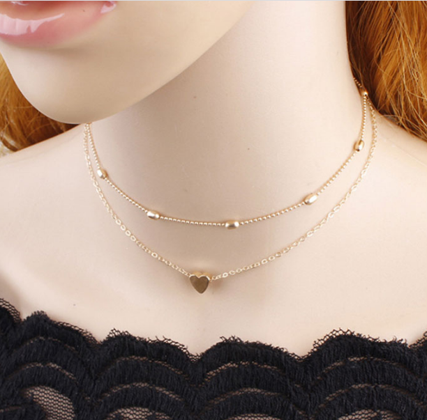 Simple Multi Layer Beads Love Heart Choker Necklace For Girls & Womens
