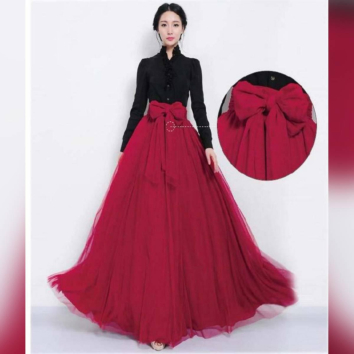 Red Net & Silk Maxi Skirt For Women