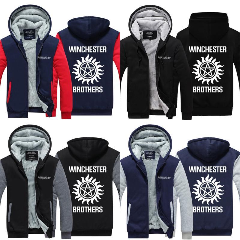 The Supernatural Winchester Cosplay Men/'s Sweater Hoodies Thicken Jacket Coat