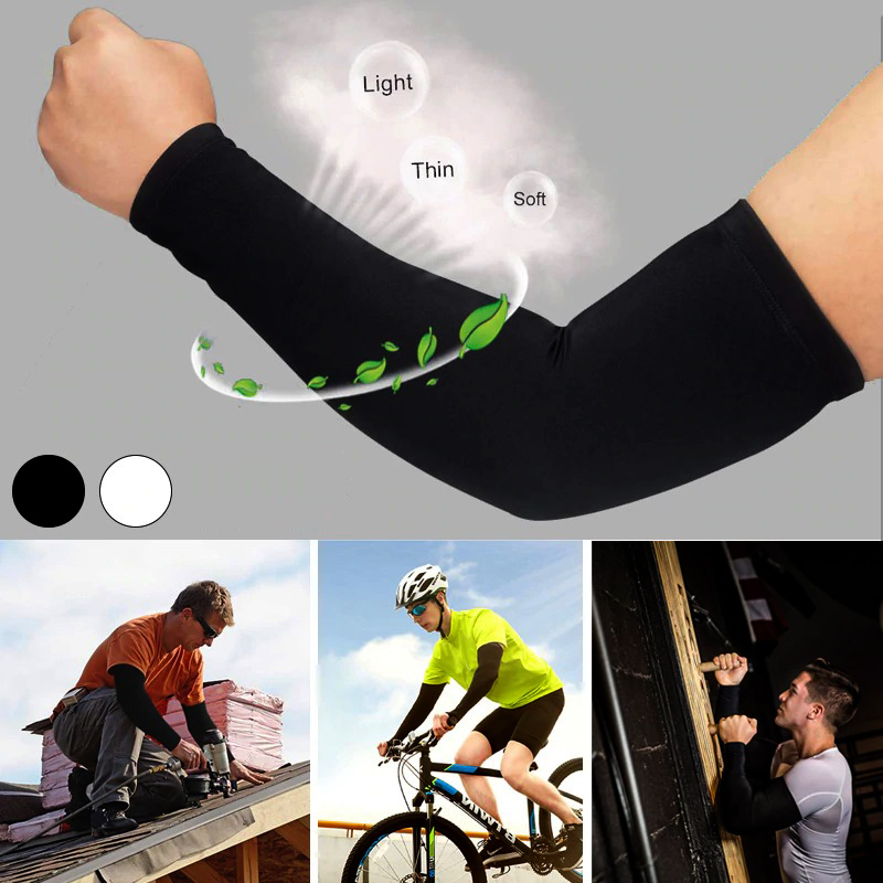Pair of Arm Sleeves for Cricket UV Protective Arms Sleeves for Men's Useful During Most Sports and Outdoor Activities in Black and White Free Size