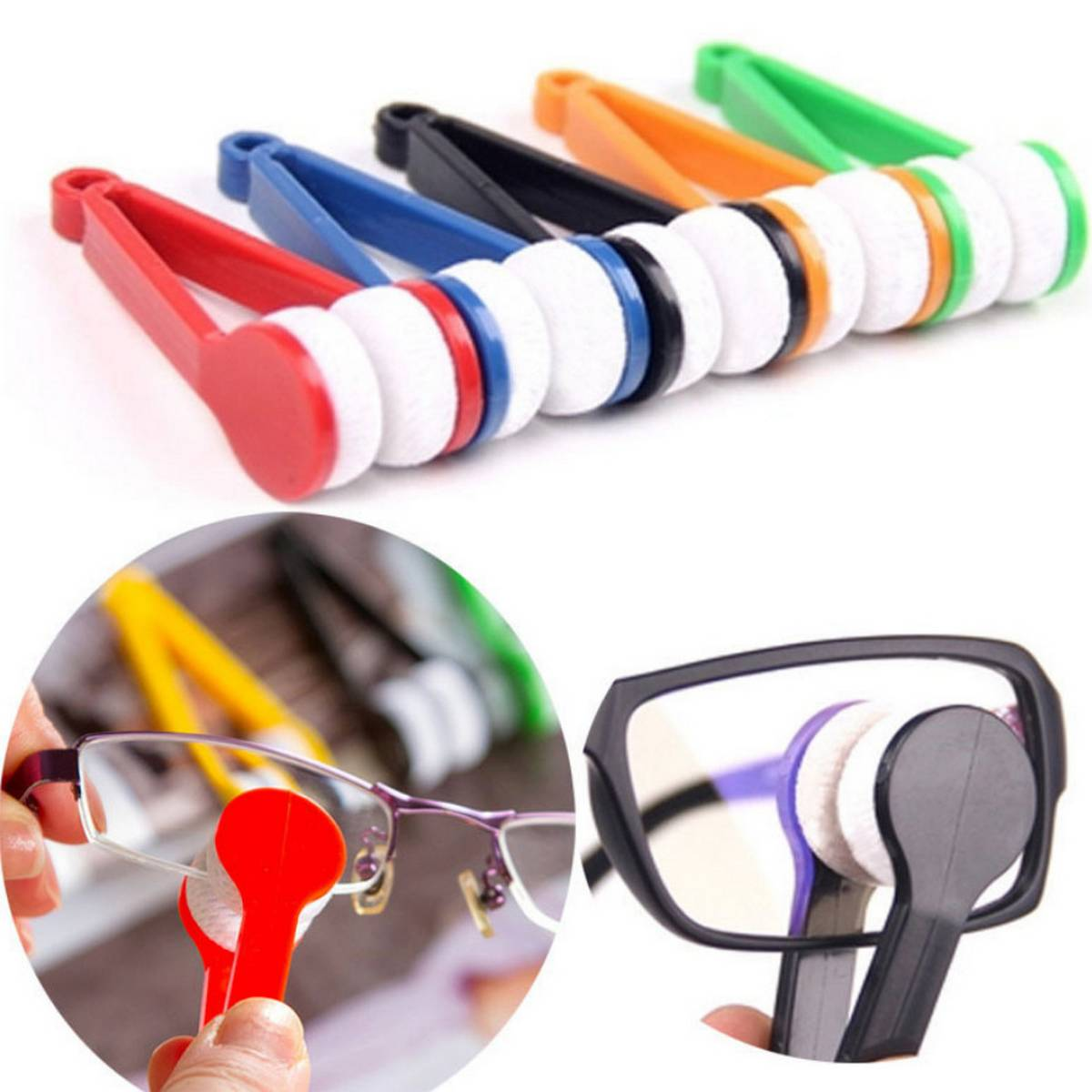 Glasses Cleaning Wipe Portable Super Soft Cleaner Double Sided Microfiber Brush Tool Rub Eyeglass Sunglasses Eyewear Spectacles Brushes Wiping Two Side Screen Fine Fiber Lens Clothes Dedicated Convenience Clean With Key Ring Maintain Convenient Cloth