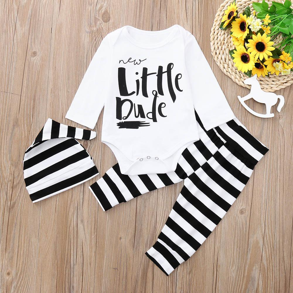 ce1c4c547eaa Stonershop Newborn Baby Boys Long Sleeves Letter Print Romper+Pants+Hat  Outfit Kids Clothes