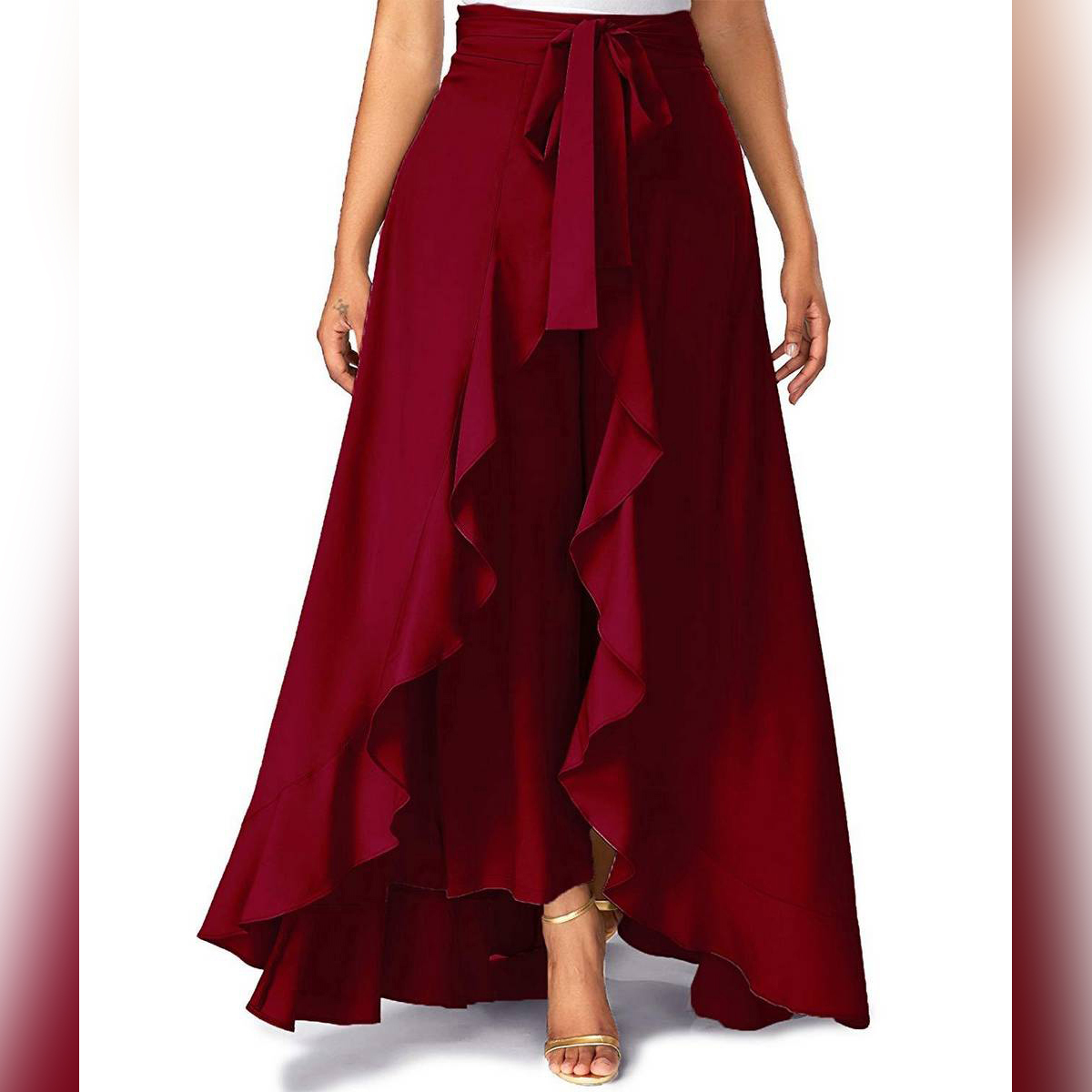 DESIGNER Maroon Solid Flare Stylish Skirt With Attached Trouser For Women For Girls
