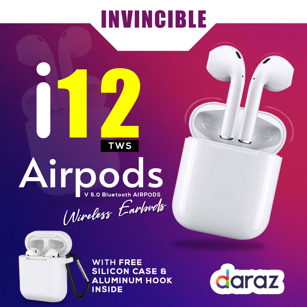 i12 tws Wireless Twins Bluetooth Earbuds Original I12 Airpods_ Headset with Silicon Cover. Bluetooth V5.0 Earphone Touch Sensor True Stereo 10m Transmission Built in Mic Earbuds with Charging Case Sport Headset for all Bluetooth Smart devices-White