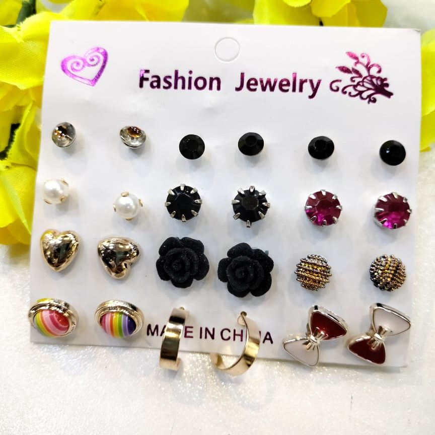 Earrings set of 12 pairs for girls and women fashion ear rings - ear tops - studs