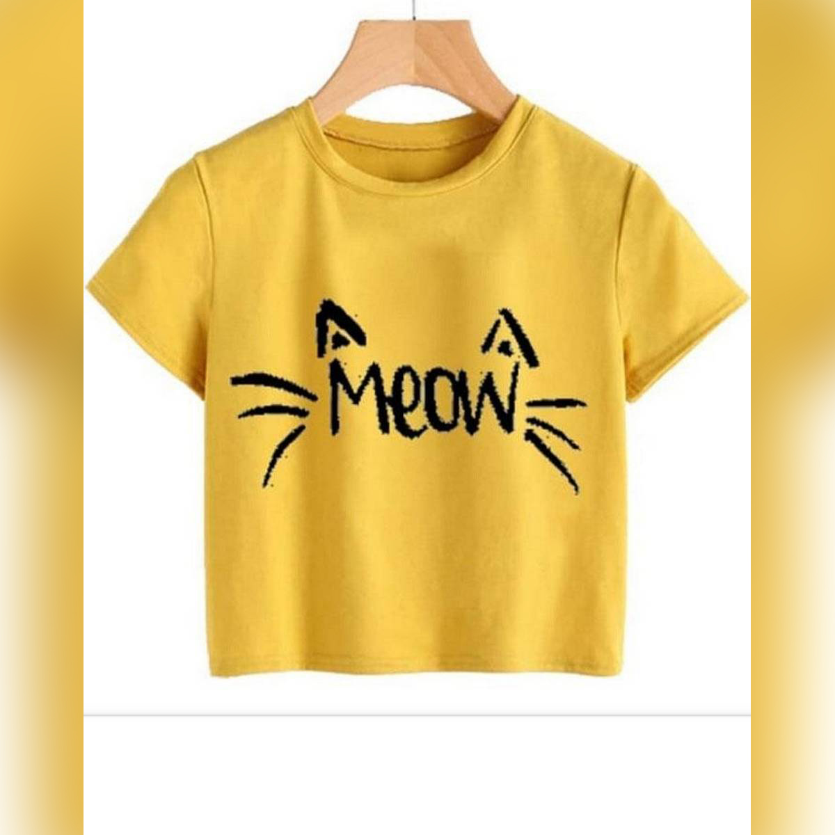 YELLOW MEOW CROPPED TOP FOR WOMEN