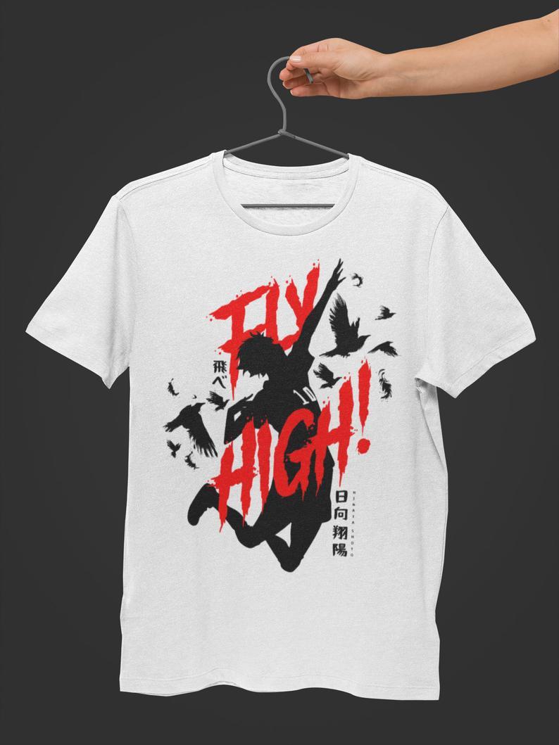 Fly High Anime Printed Half Sleeves Shirt For Men