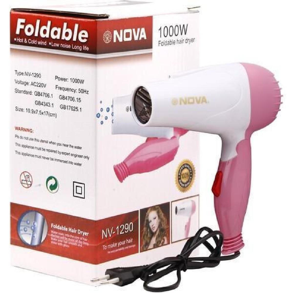 Original Portable Heavy Duty Electrical Foldable Nova Mini hair dryer 1000 Watt For Kids or Boys or Girls & Men or Women