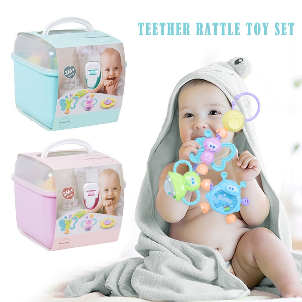 Teether Rattle Set Baby Toy For Newborn Baby Early Education Puzzle Teething Toys for 0-1 Years Old Baby