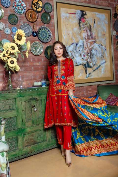 Daraz Lawn 3pc Lawn Embroided Suit With Lawn Dupatta - Unstitched Dress For Women