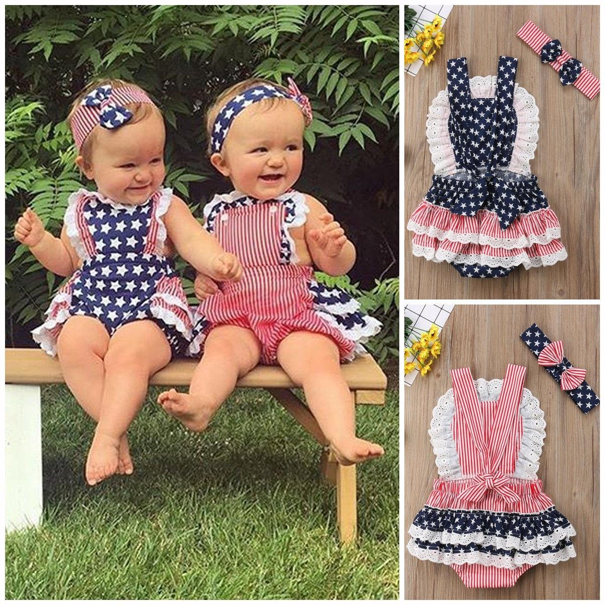 cc085ed87e99 Product details of Newborn Baby Girls Striped Star Backless Ruffle Lace  Romper Jumpsuit Bodysuit Sunsuit Headband Outfits Set