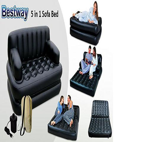 Awe Inspiring 5 In 1 Inflatable Leather Sofa Set Bed With Air Pump Machine Creativecarmelina Interior Chair Design Creativecarmelinacom