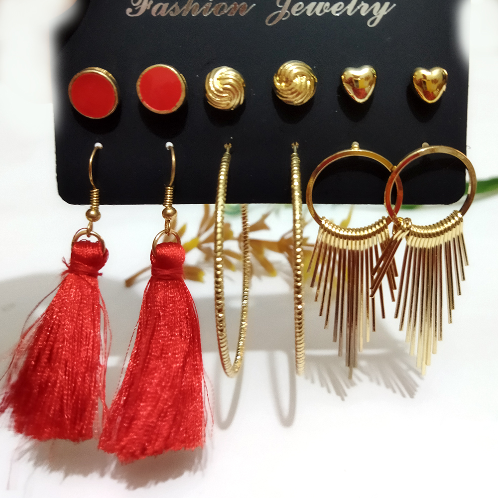 Pack of 6/Ear Rings Hoop and studs - Funky and trendy - Traditional elegant design ear rings for girls and women