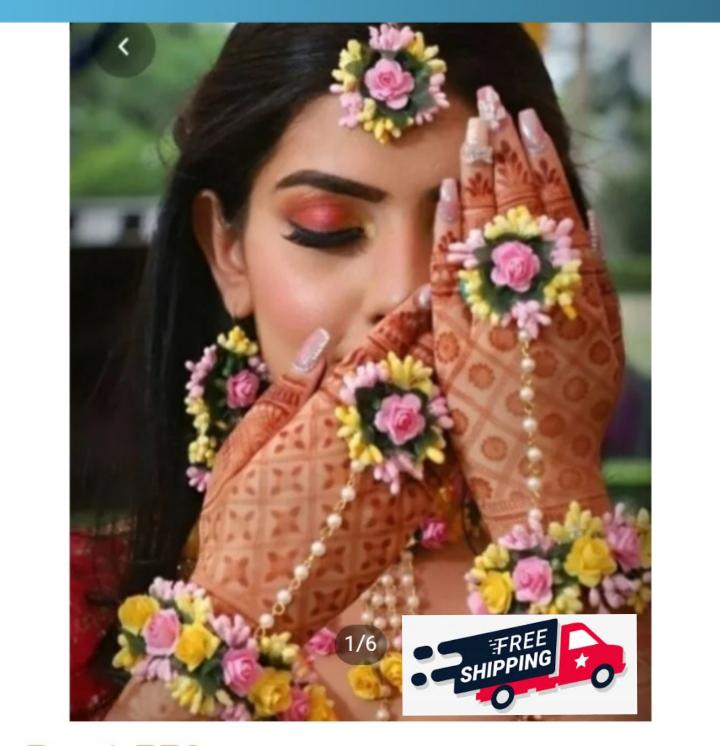 Bridal jewellery set indian, Bridal jewellery set   Mehndi, mayon flower jewelry ,  Mehndi accessories, Mehndi Jewellery set for girls for Bridal Pink Yellow