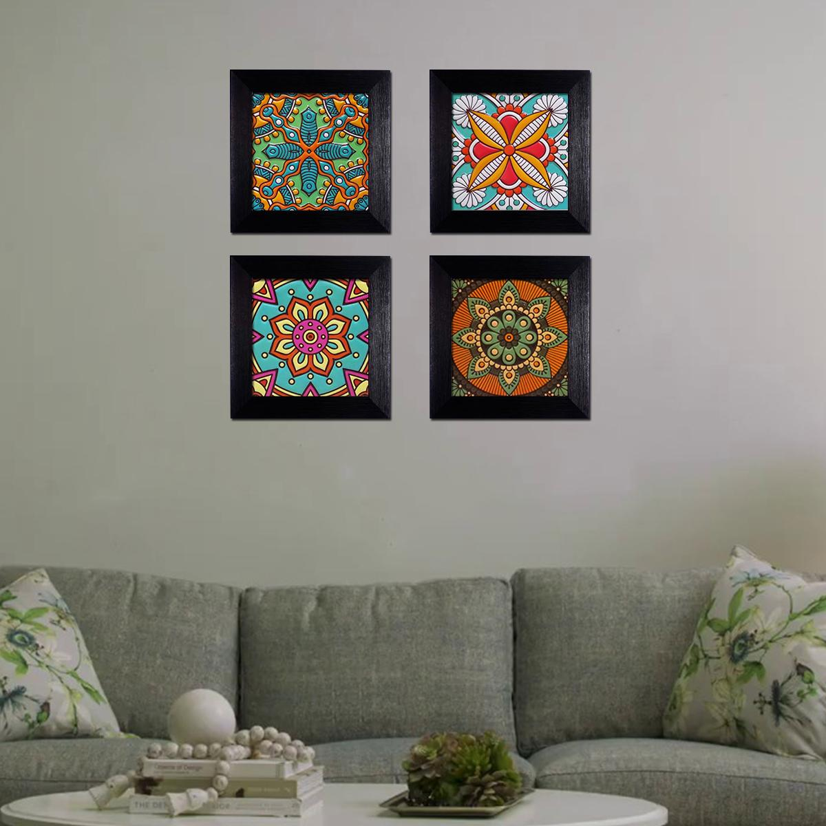 Wall Frames Set of 4 Wall Hanging Frames With Colorful Artwork Multi Color Wall Art Hangings