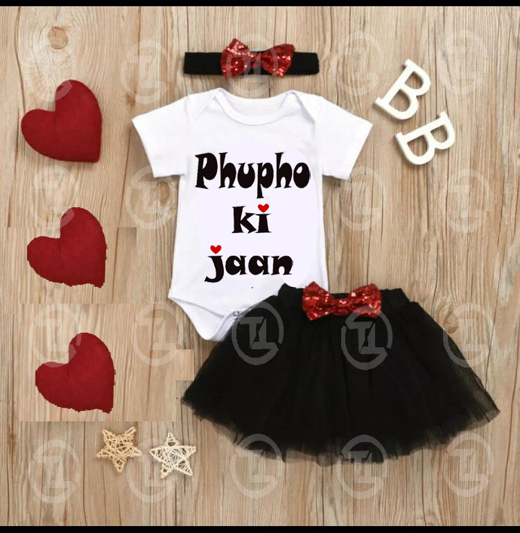 4pcs Baby Girls Clothes Toddler Outfits Set ( Phupo Ki Jaan ) Romper Tutu Skirt Headband