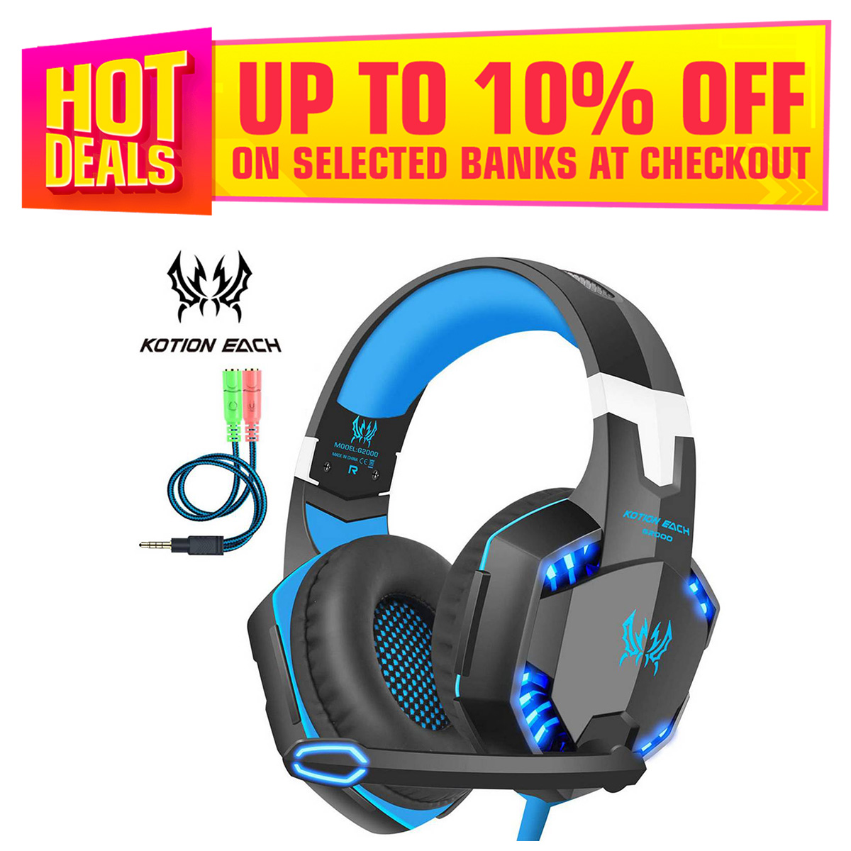 Kotion Each G2000 Gaming Headset Surround Sound Stereo Headphone with Noise Isolation Microphone In-Line Control for PC PS4 Xbox One - Blue