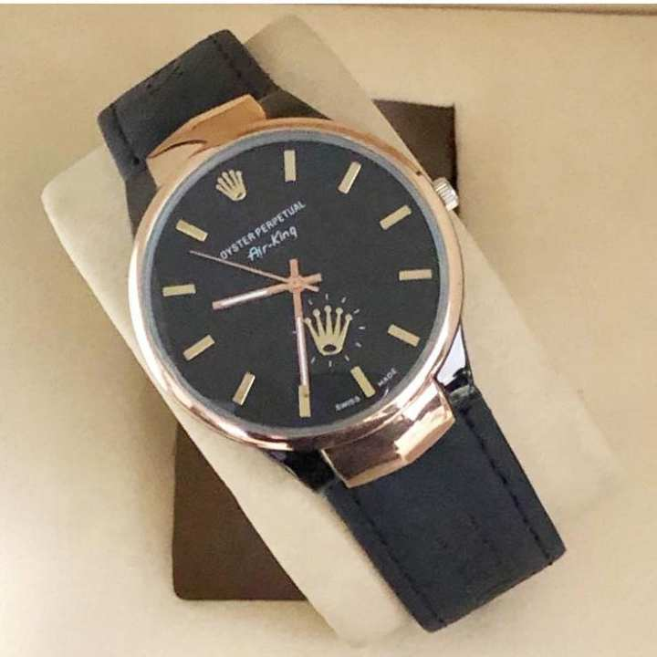 Black Leather Date Watch for Men