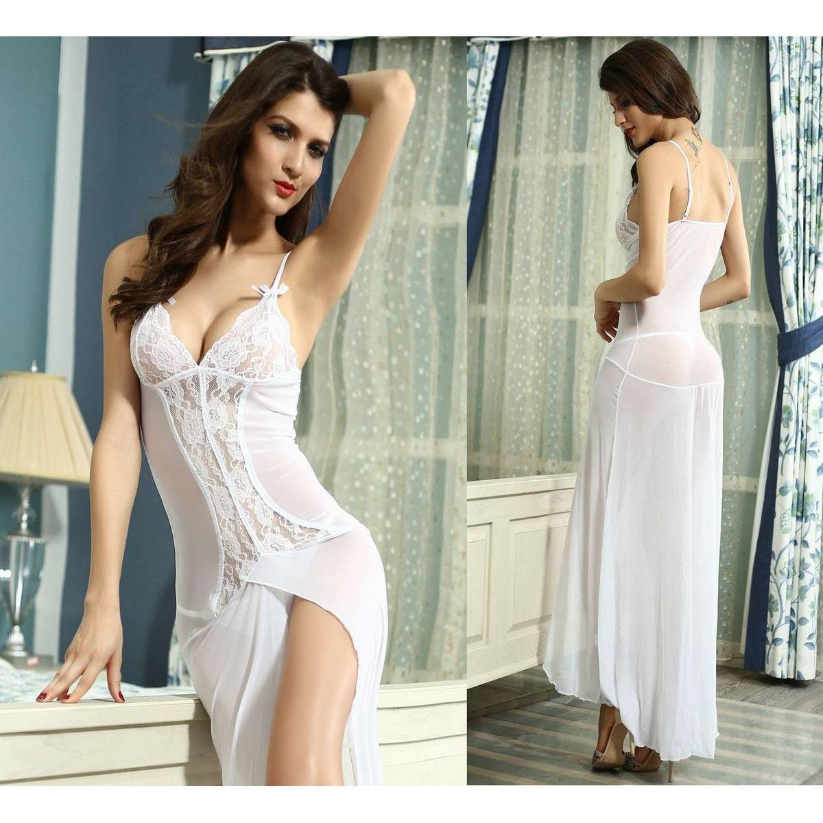 Sexy Transparent Lace Lingerie Hot Baby doll Chemise Night Dress Underwear Nightwear Costume Intimates