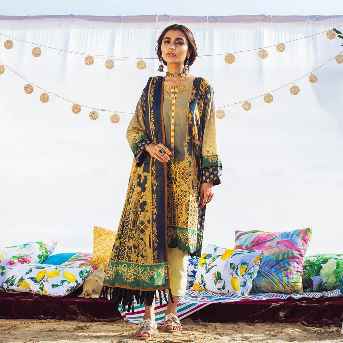 Maahru Beige Castle - Women's Unstitched 3PC Summer Printed Lawn suit with Dupatta
