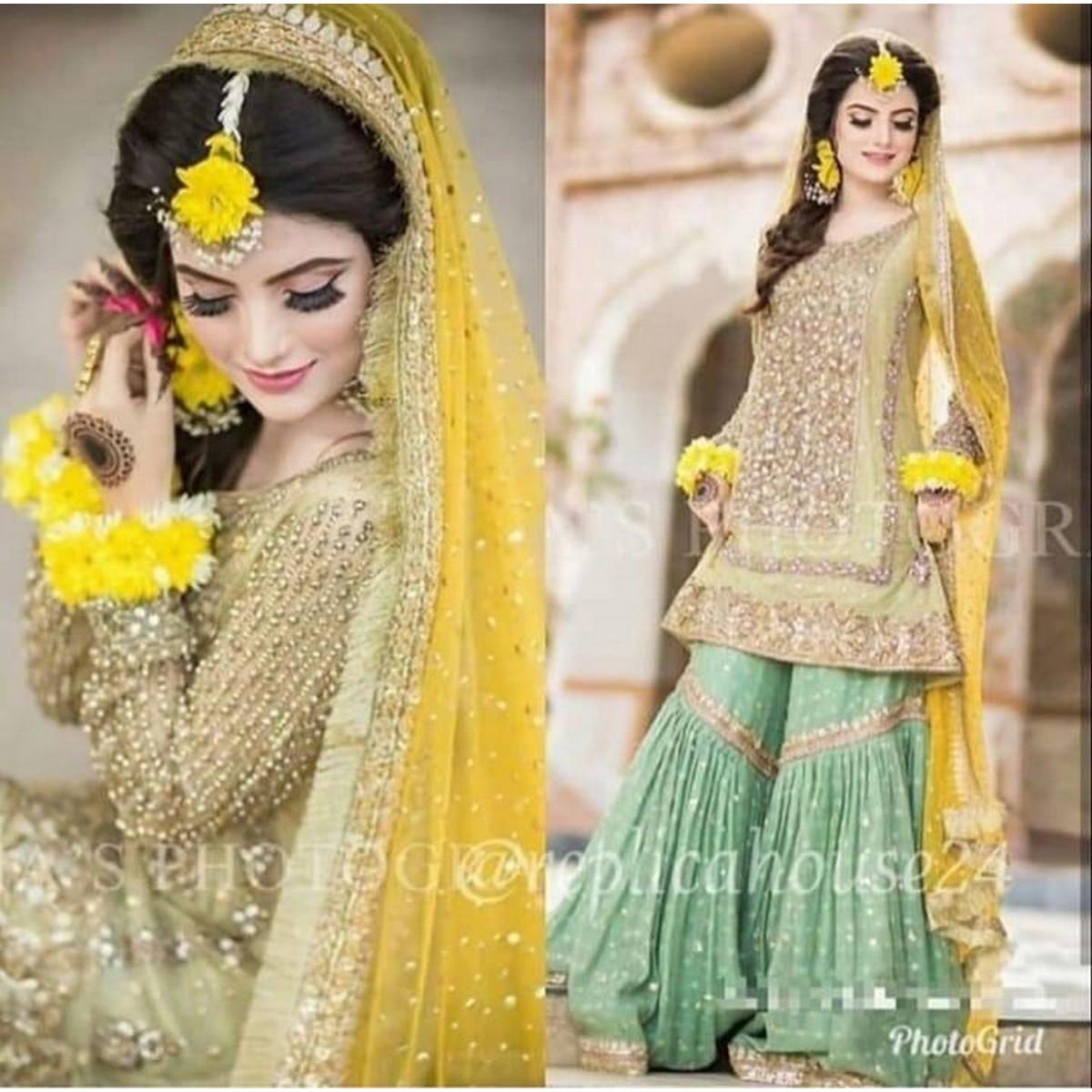 Atif Riaz Wedding Collection Bridal Mehndi Net Dress For Women