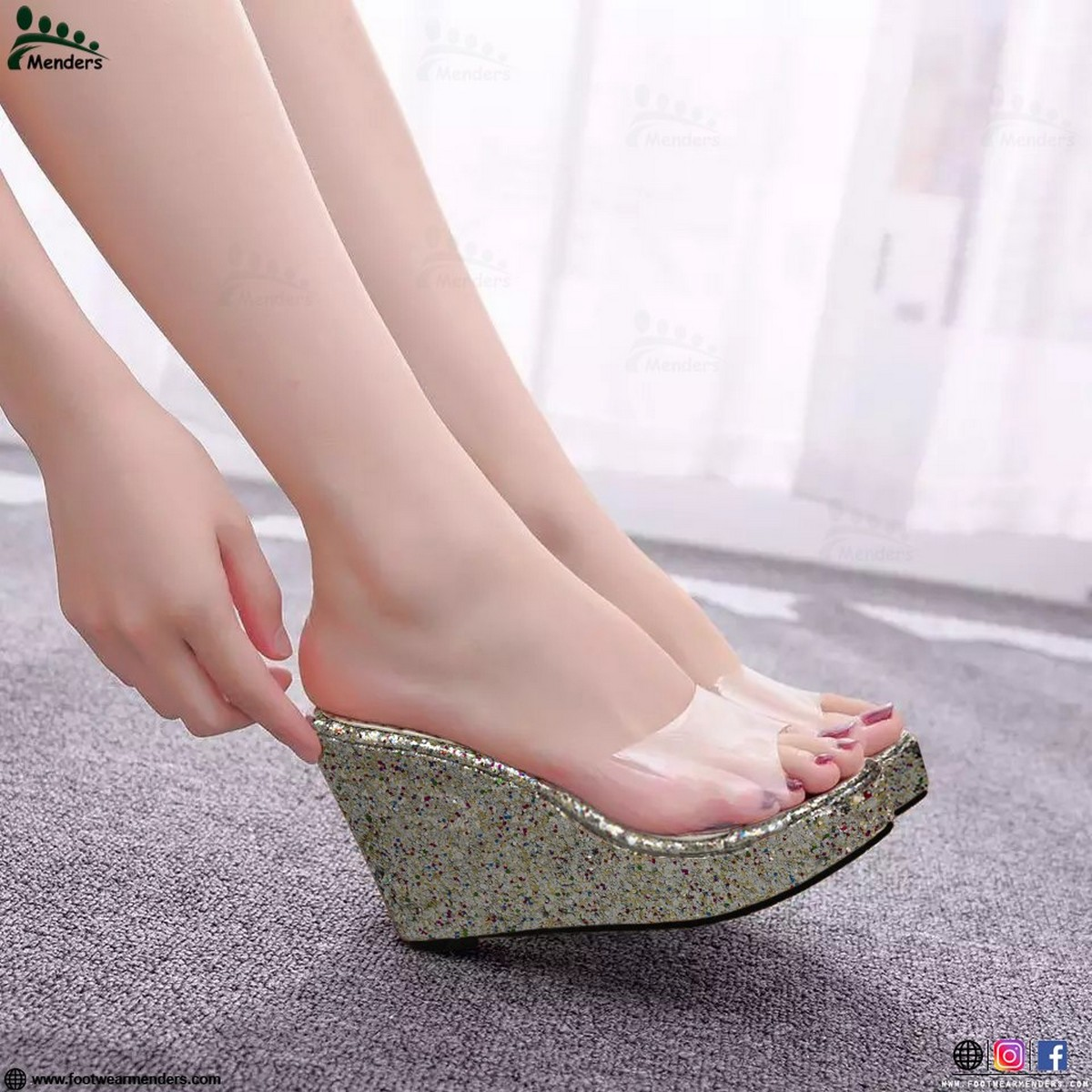 Imported Stylish Transparent High wedge for women