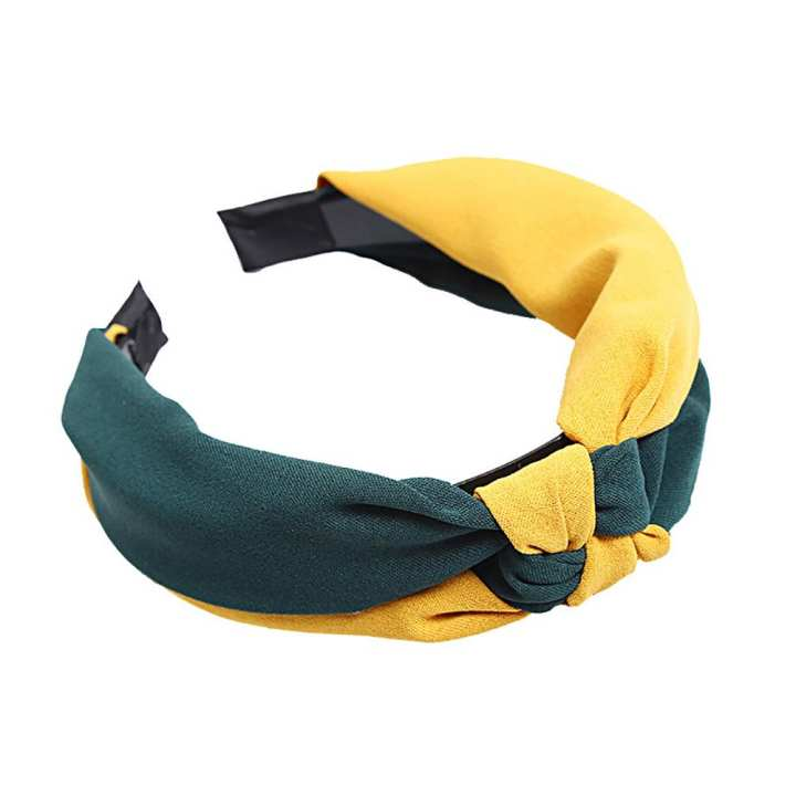 Amamia Simple Color Block Knotted Hair Hoop Wide Band Women Cloth Headband Headwrap