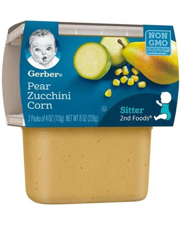 Gerber Sitter 2nd Fod Pack of 2 Pear Zucchini Corn 226g