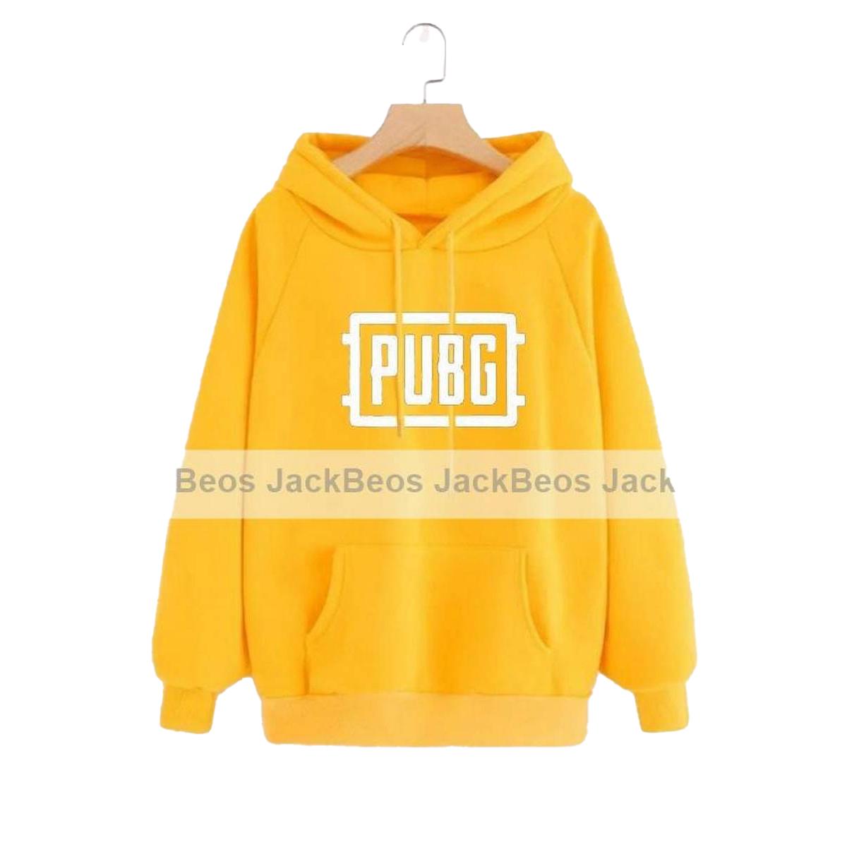 Pubg Fleece Printed Pull Over Hoodie for Men - Yellow