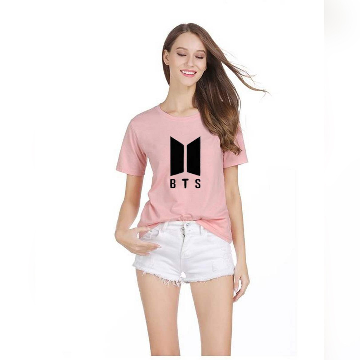 BTS Printed Tshirts Round Neck Casual Cotton Top Tees High Quality Summer T Shirts For Women Girls - PINK