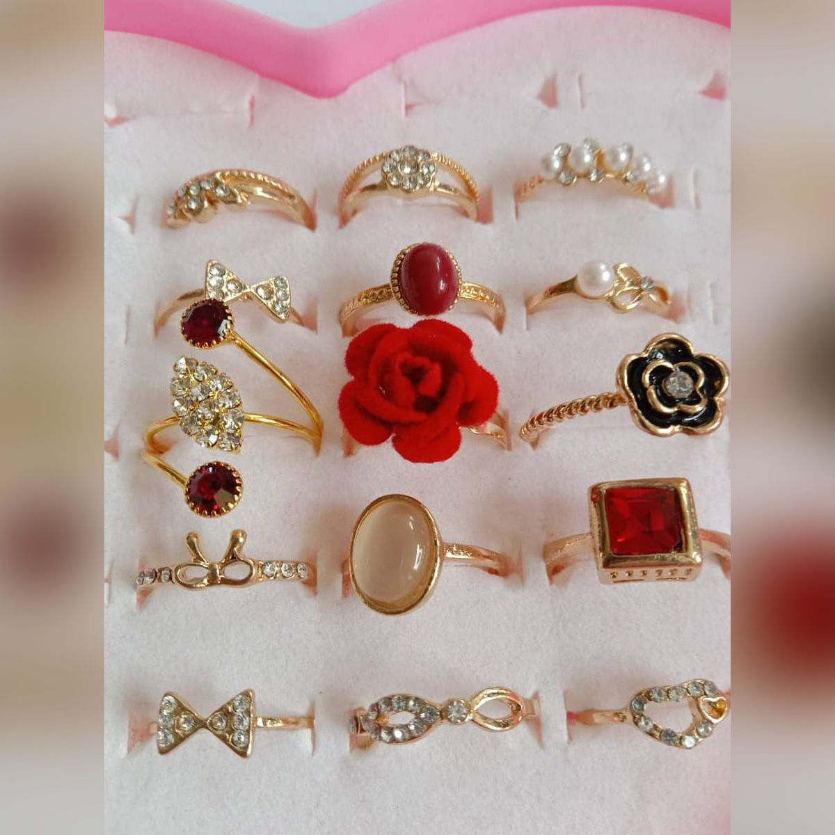 13 Pieces ring/Set Palm Carved High Class Combination Rings For Girl & Woman - Golden, Latest Design suitable as an Eid Gift, Anniversary or Valentine Gift