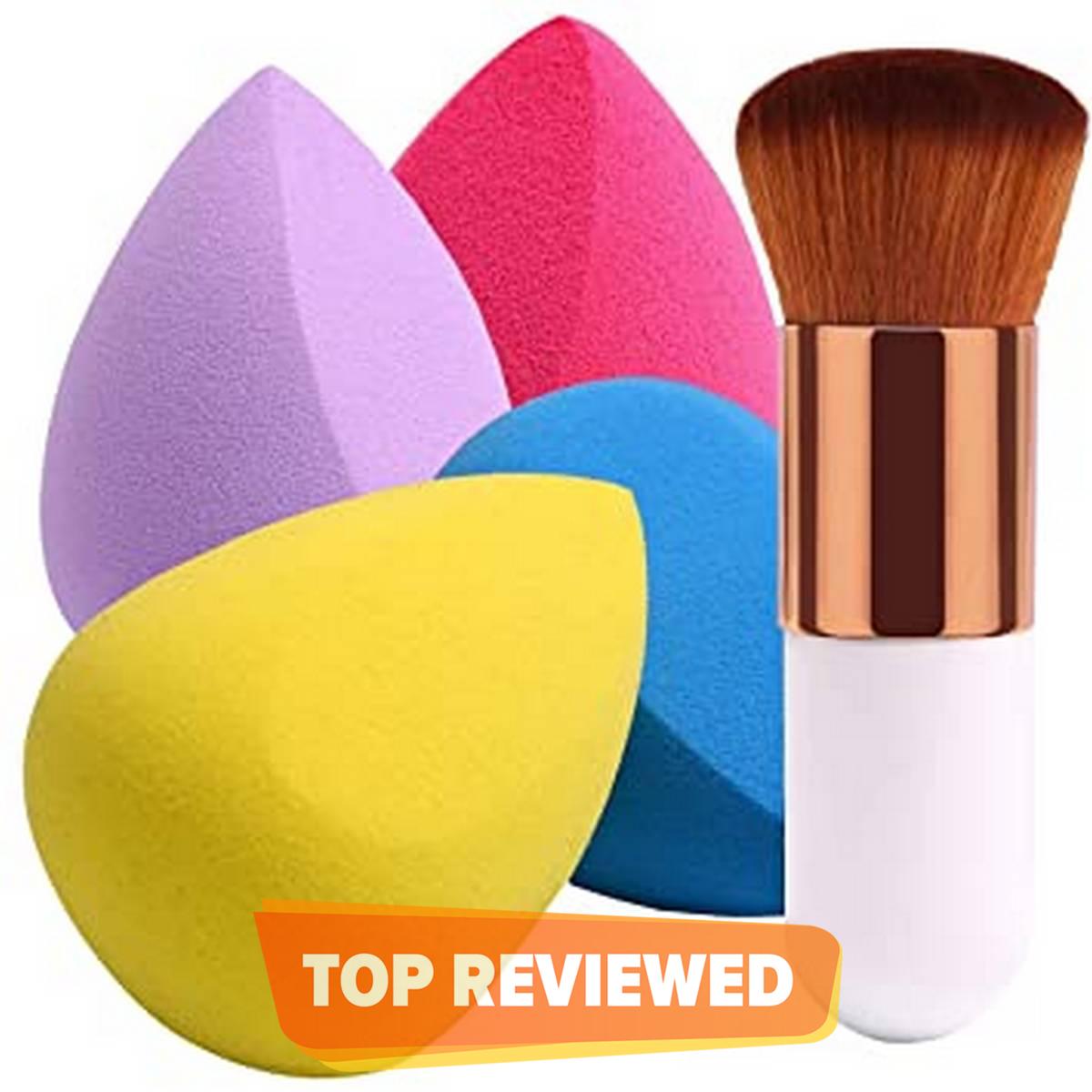 Deals of 2 Makeup Foundation Brush Kabuki With Beauty Blender Makeup Sponge Puff