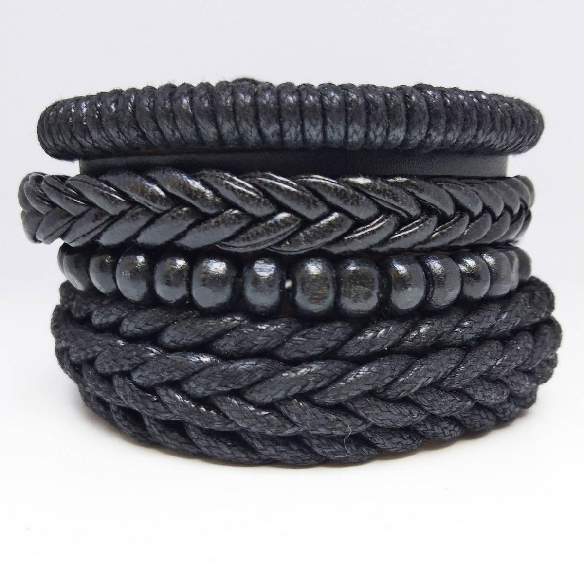 Stylish 4 Pcs Multilayer Handmade Leather Bracelet Charms Beads for Men Unisex Punk Wrist Hand Bands