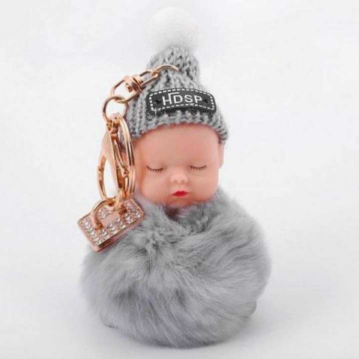 Mobile Ring Holder & Baby Furr Key Chain For Mobile Phones Grey