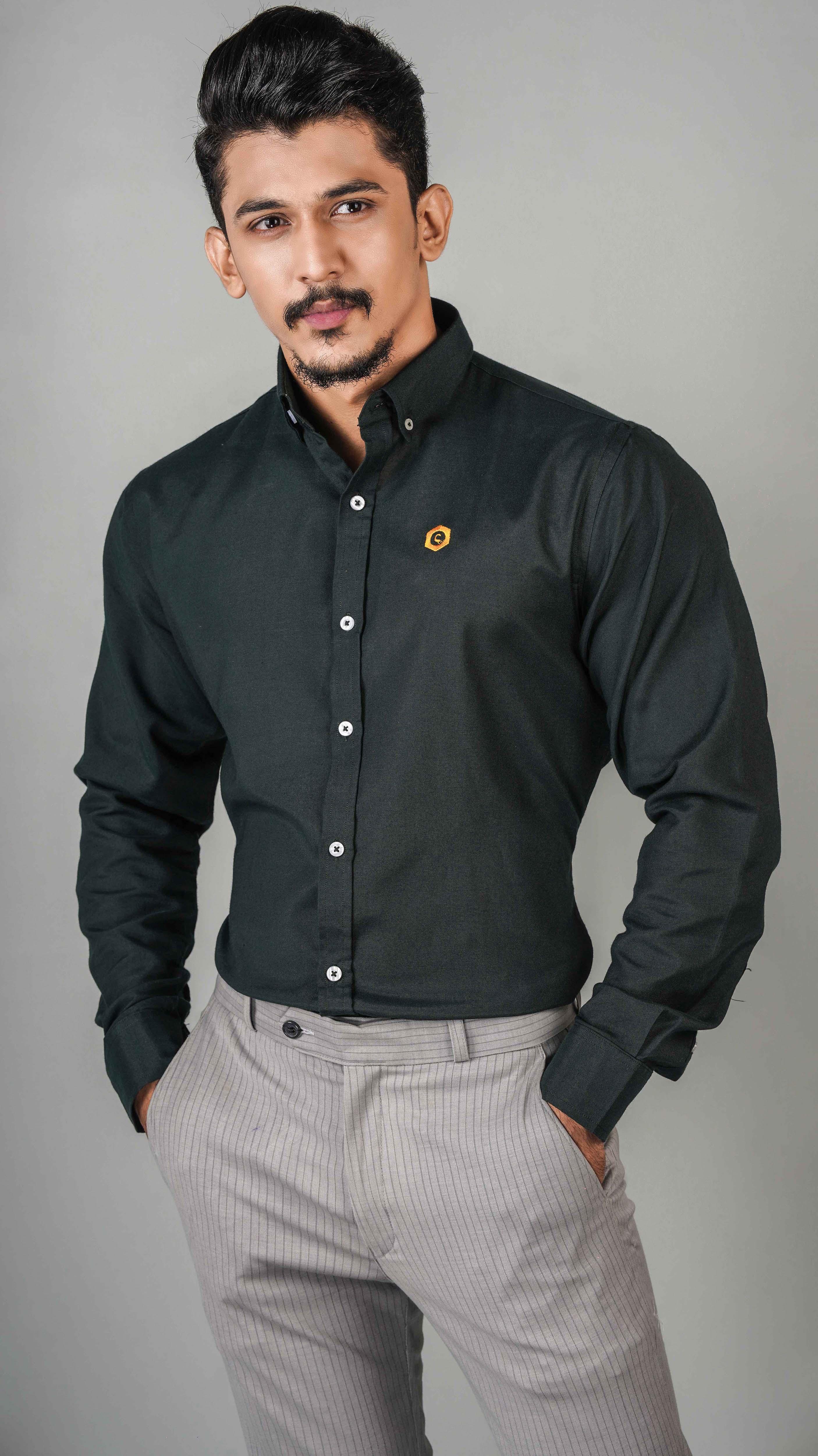 CODE Casual Slim Fit Cotton Long Sleeve Blue Printed Shirt For Men Fashion SKU: CD-20