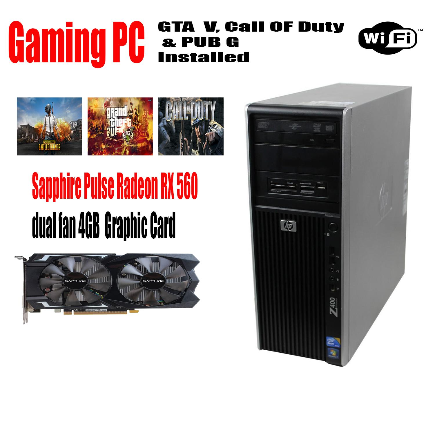 HP Z400 Gaming PC Xeon W3550 3 06 GHz - 16GB Ram - 1TB Hard drive - WIFI -  4GB DDR5 Graphic card 3 Games Installed