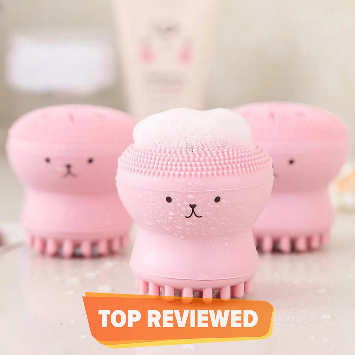Skin Care Lovely Small Octopus Shape Silicone Facial Cleaning Brush Face and makeup Washing Brush Skin Care Deep Pore Cleaning Exfoliator manicure pedicure