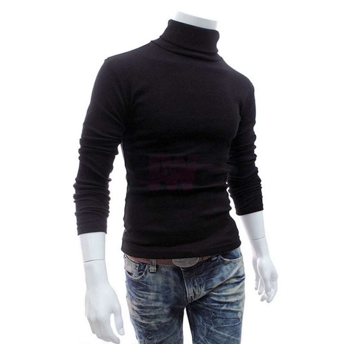 Men Premium High Neck Black Full Sleeve Pullover Stretchable Ribbed Cotton & Lycra T-Shirt Turtleneck Tops Sweatshirt Winter Warm Free Size Every Fitter Special offer InnerWear pk