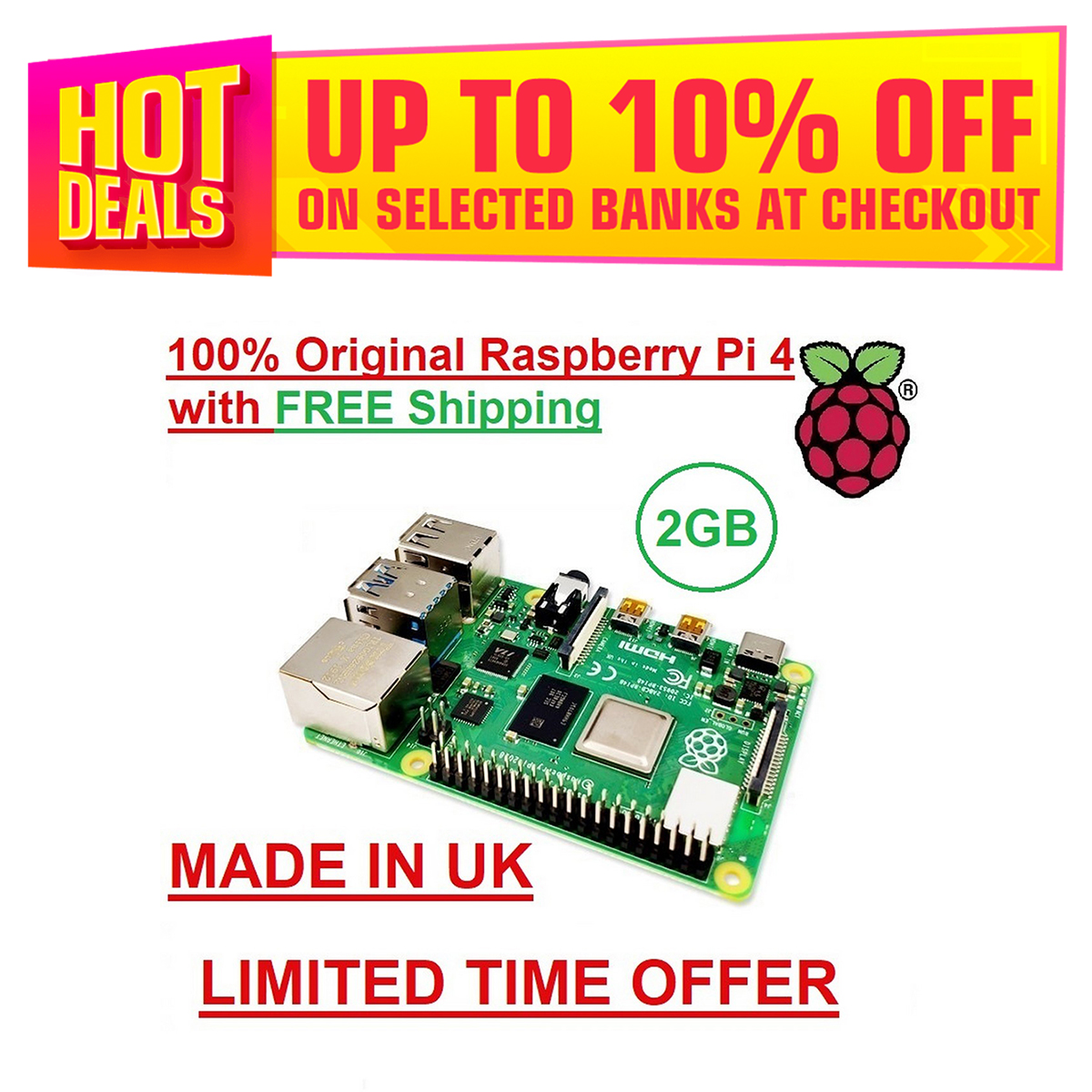 Official Original Raspberry Pi 4 Model B 2GB RAM Development Board Kit 4 Core CPU 1.5Ghz