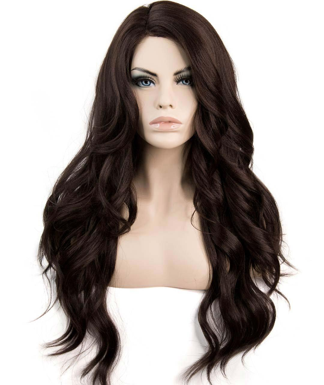 Premium Lace Monofilament Top Long and Wavy Heat Resistant Side Part Synthetic Wig for Women Cosplay Fashion Full Volume 150% Density