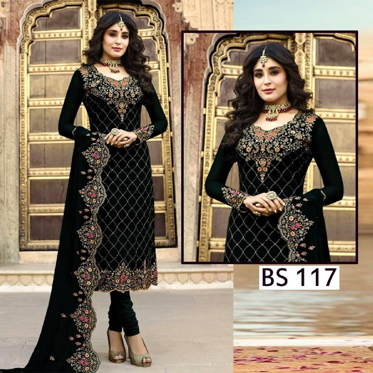 Ladies chiffon Embroidered Party wear Dress - BS 82 (Un stitched)