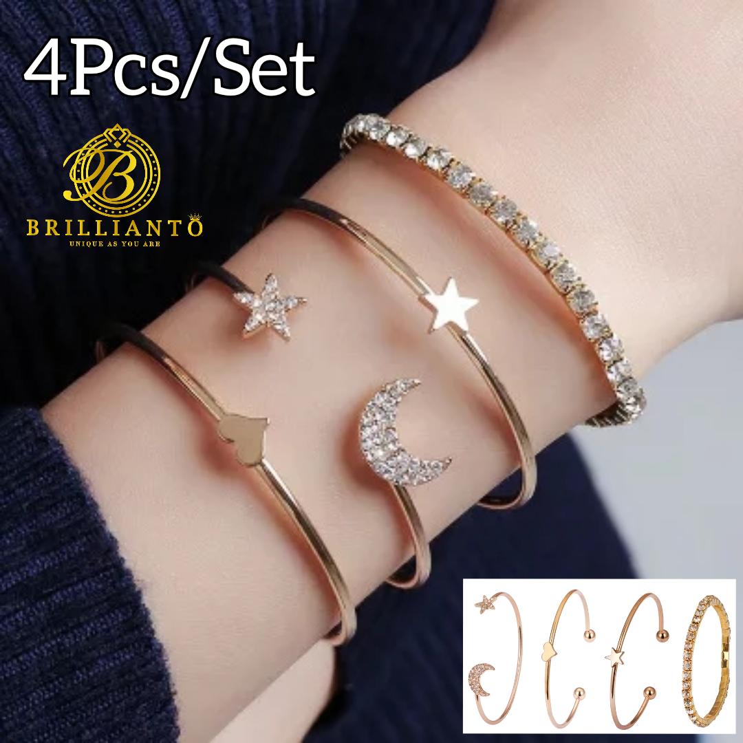 4Pcs/Set Adjustable Bracelet for Girls Shiny Moon Star Heart Charm Branded Bangle Best Gift