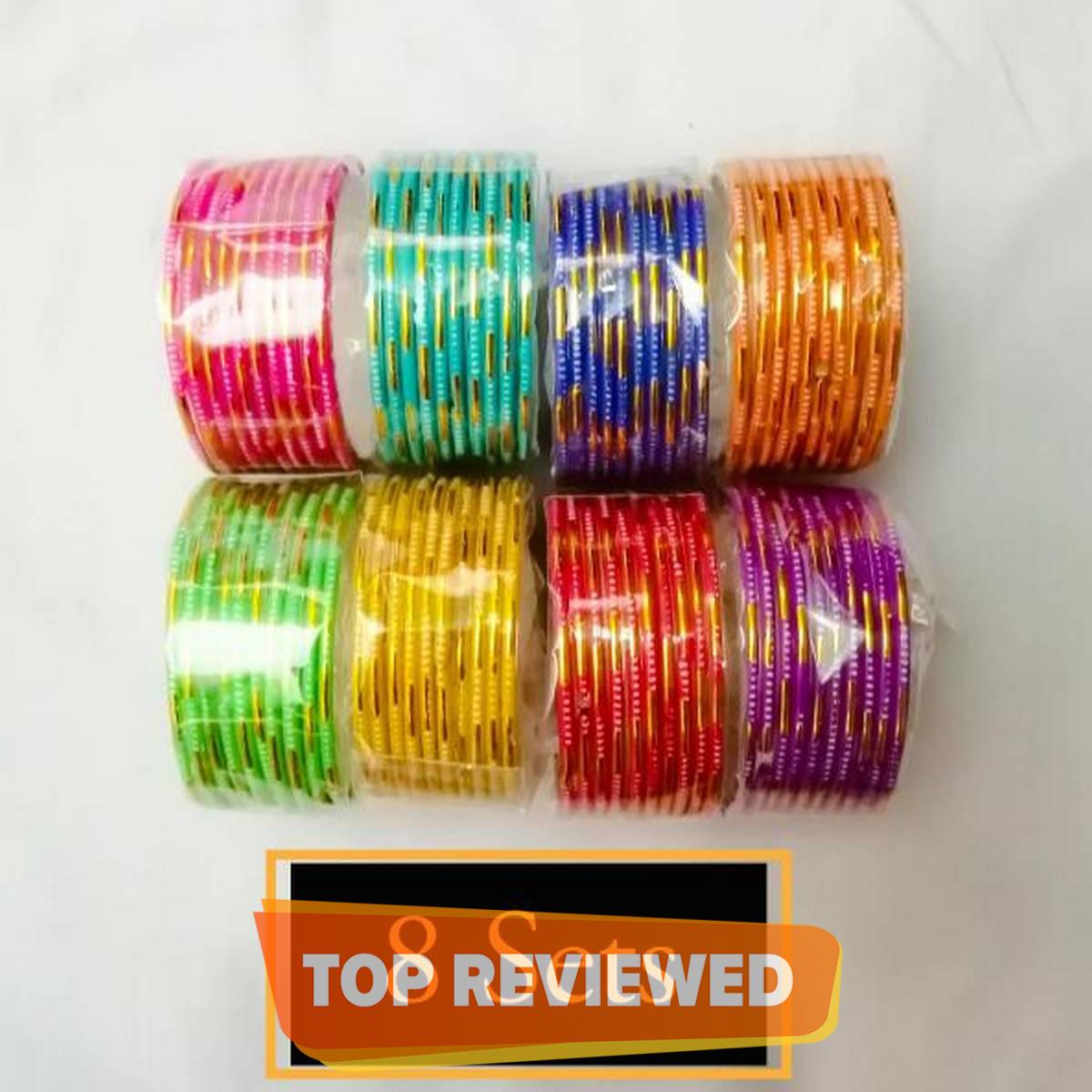 Lesto 8 packs of Glass bangles for girls