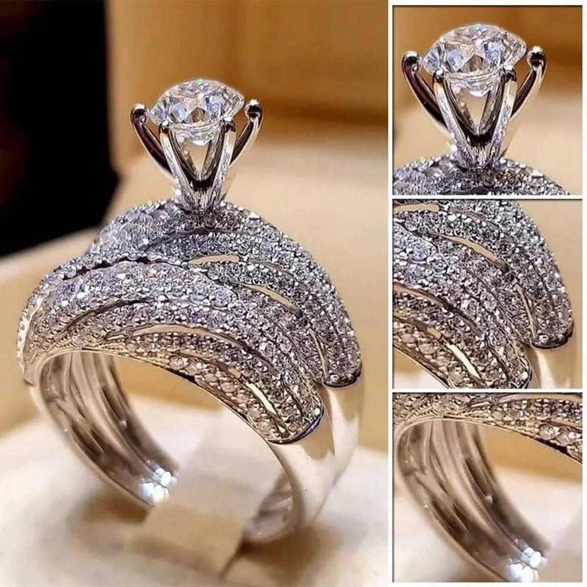 Trendy High Class Silver 2 Pieces Gem CZ Ring For Women