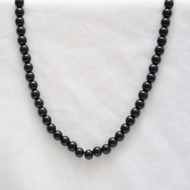Black 6mm Bead Necklace By Nick Nacks
